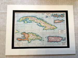 Antik-Karte-Druck-Jungfrau-Inseln-Cuba-Haiti-Puerto-Rico-West-Indies-Vintage-Art