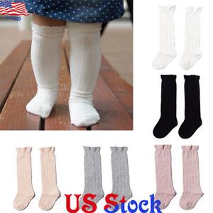 US-Toddler-Baby-Girls-Kids-Cotton-Knee-High-Ribbed-Socks-Spanish-Style-High-Sock