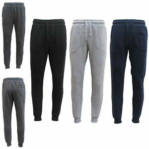 Mens Unisex Fleece Lined Sweat Track Pants Suit Casual Trackies Slim Cuff XS-4XL