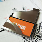 Man's Pocket Black PU Leather&Stainless Steel Business Name Card Case Holder US