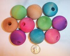 10 X Large 1 1 2 Colored Wooden Wood Ball Beads Parrot Bird Toy Craft Parts