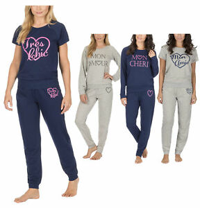 Image is loading Womens-French-Terry-Soft-Loungewear-Pyjama-Set-Nightwear- ed5fc02cc