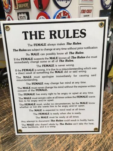 porcelain coated 18 GAUGE steel SIGN humorous THE FEMALE MAKES THE RULES!!