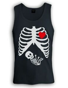 7d9868a7 Image is loading Pregnant-Skeleton-Singlet-Baby-funny-gothic-maternity -halloween-
