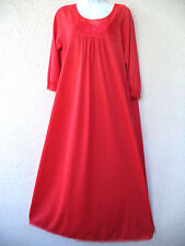 """Vintage NIGHTGOWN Silky Nylon Nice Sweep RED Modest Cut LONG 42"""" Bust"""