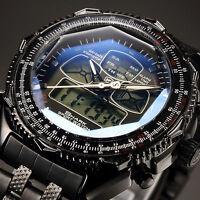 New Shark Men's Military Digital LCD Date Day Stainless Steel Quartz Sport Watch