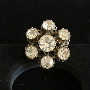 BROOCH-vintage-silver-tone-metal-rhinestones-flower-made-in-Austria