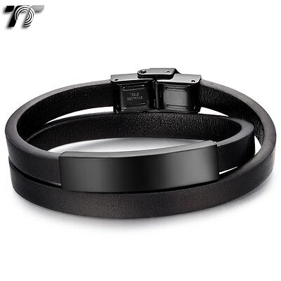 TTstyle Double Row Leather S.Steel Blue Gem Magnet Buckle Bracelet NEW