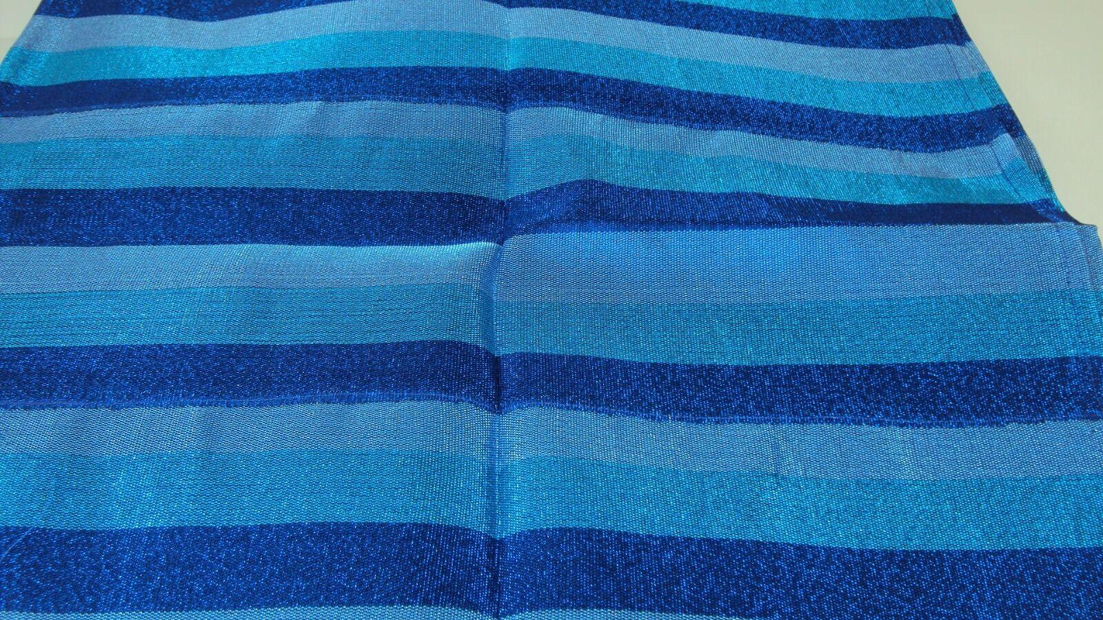 Nigerian Aso Oke Gele (Headtie)-Royal,Turquoise & Silverish Blue Stripes 1Piece