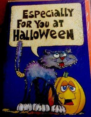 Vintage Halloween Cat /& Pumpkin New 3D Card With Envelope