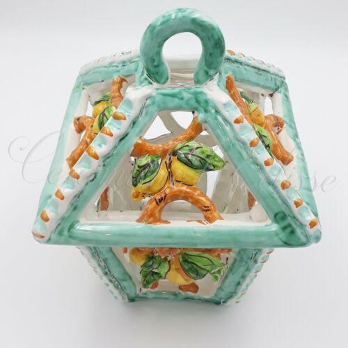 Applique Lanterna Per Esterno Ceramica Di Vietri Traforato A Mano Con limoni