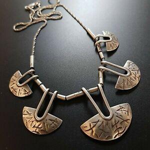 Israel-Modernist-Sterling-Silver-925-Necklace-Vintage-handmade