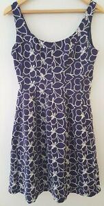 NINE-WEST-BLUE-COTTON-SUMMER-DRESS-floral-daisy-embroidered-UK-size-uk-8