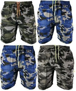 New-Mens-Elasticated-Camouflage-Shorts-Knee-Length-Cargo-Combat-Multi-Pocket