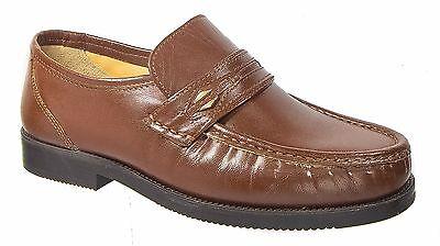Zapatos Para Hombre Calce Ancho Mocasín/Cuero Tostado Tycoons tamaños de 7 a 12