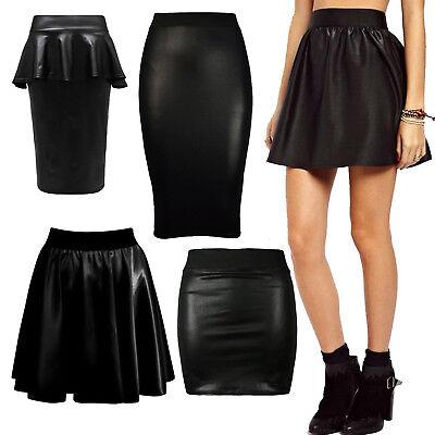 Womens Ladies Wet Look PVC Faux Leather Mini Midi Maxi Peplum Skater Skirts 8-26