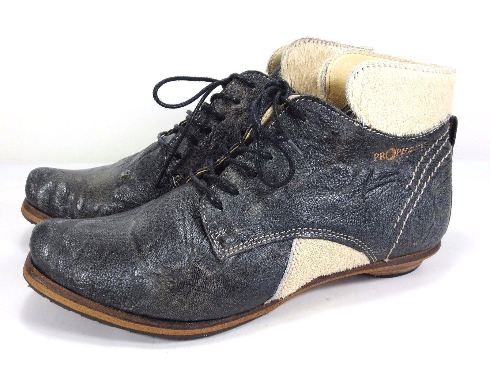 SALE PROPHECY ital Leder Schuhe Stiefel Fell Stiefeletten Lederfutter NEU 169,90