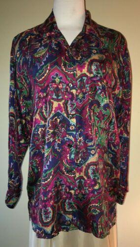 90s vintage Robert Stock oversize silk print blous