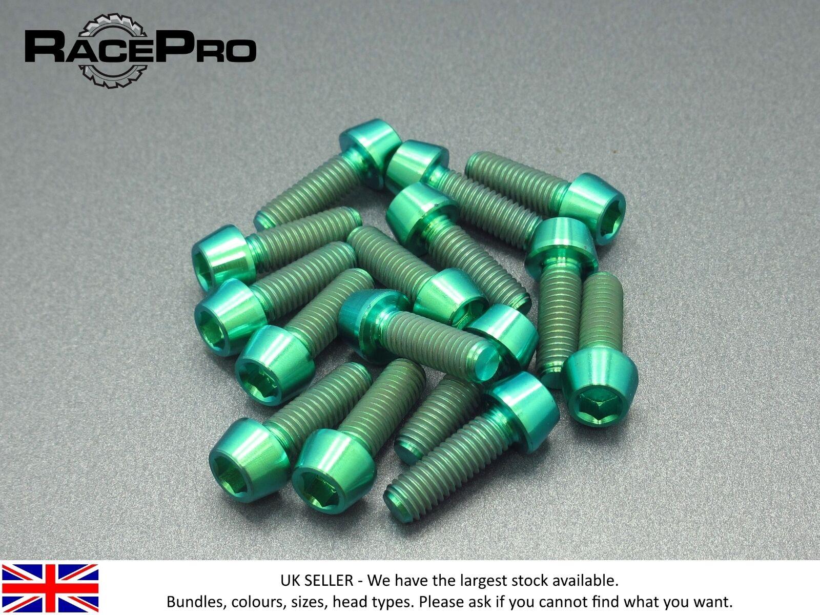 RacePro - 10x Titanium Tapered Bolt GR5 - M6 x 20mm x 1mm - Allen Head - Green