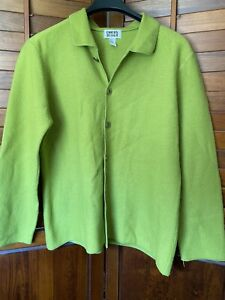 Details about Chico's Lime Green Boiled Wool Cardigan Sweater Button Down sz 2 EUC A2A