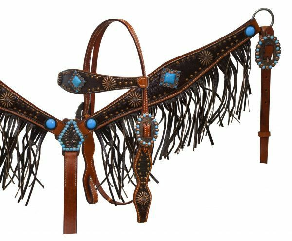 Showman Leather Headstall & Breast Collar w  Turquoise Conchos & Leather Fringe