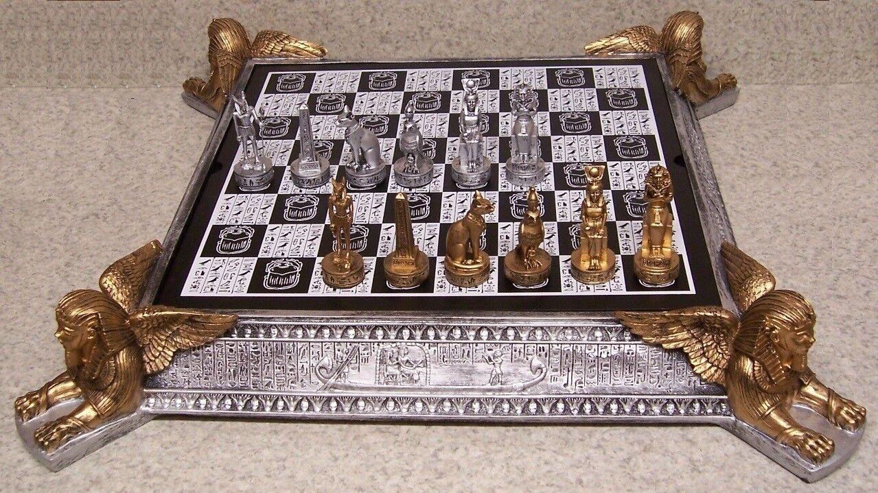 Juego de ajedrez con tablero de juego y almacenamiento amanecer de la historia Egipto Faraones Reyes 3  Nuevo