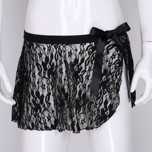 Sissy Men Sheer Lace See Through Mini Short Skirted Underwear Lingerie Nightwear