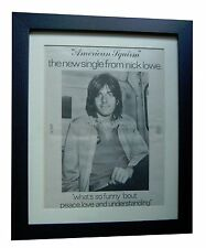 NICK LOWE+American Squirm+POSTER+AD+RARE ORIGINAL 1978+FRAMED+FAST GLOBAL SHIP