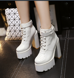 Womens-Platform-Chunky-Block-High-Heels-Multi-Color-Gothic-Lace-up-Ankle-Boots