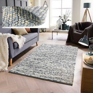 LARGE-THICK-CREAM-DUCK-EGG-BLUE-PEBBLES-BOBBLE-100-WOOL-3D-RUG-CLEARANCE