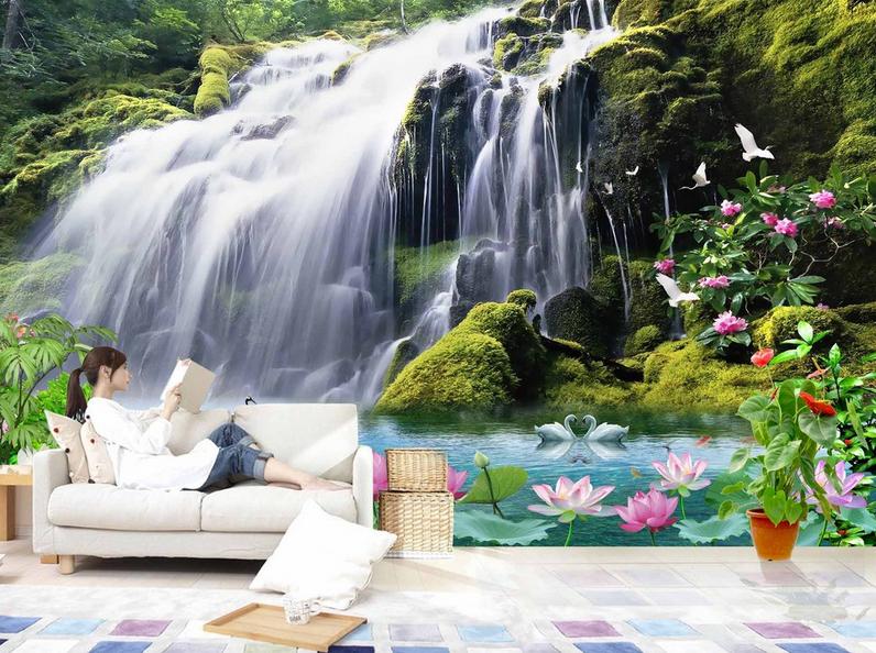 3D Wasserfall 854 Tapete Wandgemälde Tapete Tapeten Bild Familie DE Summer