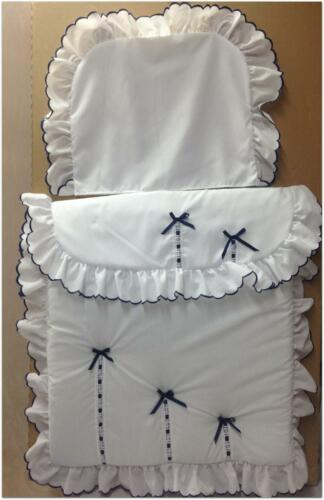 Baby/'s Pram Quilt set in white and  navy to fit silver cross prams
