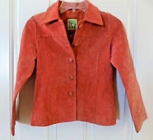 Girls-Little-Mass-100-Suede-Jacket-Size-10-Watermelon-Orange-Pink