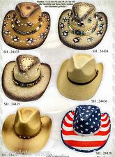 1 Stück Cowboy Hut Strohhut Tex Mex,Western Hat,Country Mütze Trapper Cap USA