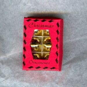 Dollhouse Miniature Opening Box of Gold Metallic Christmas Ornaments 1:12 Scale