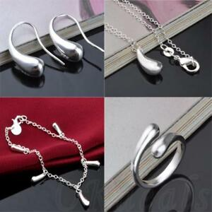 Water-Drop-Pendant-Silver-Plated-Earrings-Ring-Necklace-Bracelet-Jewelry-Set