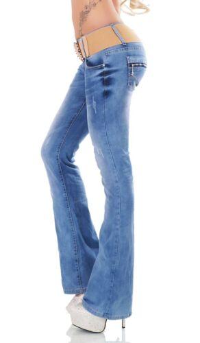 Bootcut-Jeans mit Bleach-Effekten und Stretch-Gürtel in light blue