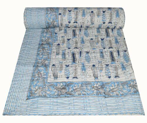 Baby Throw Decor Vintage Indian Fish Hand Block Print Kantha Quilt Bedspread
