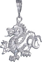 Sterling Silver Dragon Charm Pendant Necklace Diamond Cut Finish With Chain