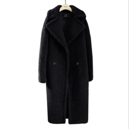 Women's Lapel Faux Wool Oversize Double Breasted Winter Outwear S-9XL Coat Hot L