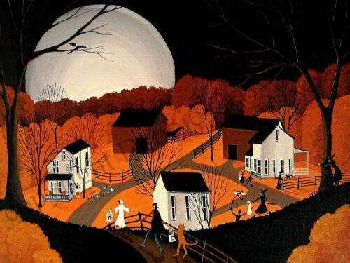 Dollhouse giclee folk art print PEEK A BOO WITCH black cat Halloween costume DC