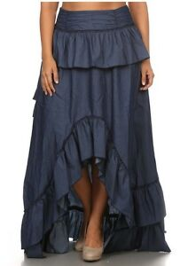 Plus Size Dark Denim Hi Lo Ruffled Maxi Jean Skirt