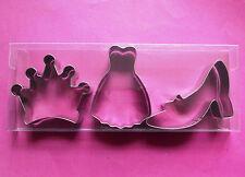 Lady dress, High heels, crown baking cookie metal cutter set