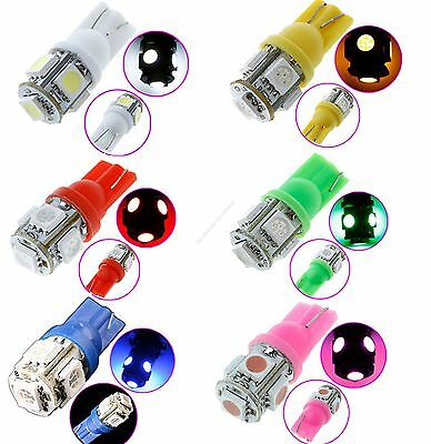 S05 10x T10 5SMD 5050 SMD Bulbs Side 5color car Light Bulb 194 168 W5W LED Wedge