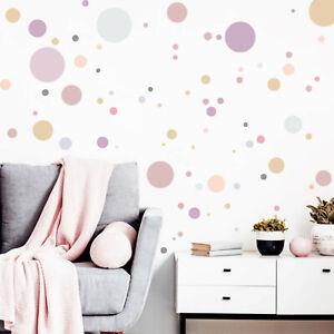 Détails sur Sticker Mural pour Chambre D\'Enfant 90 Cercles Pastelle  Décoratifs Set Rond
