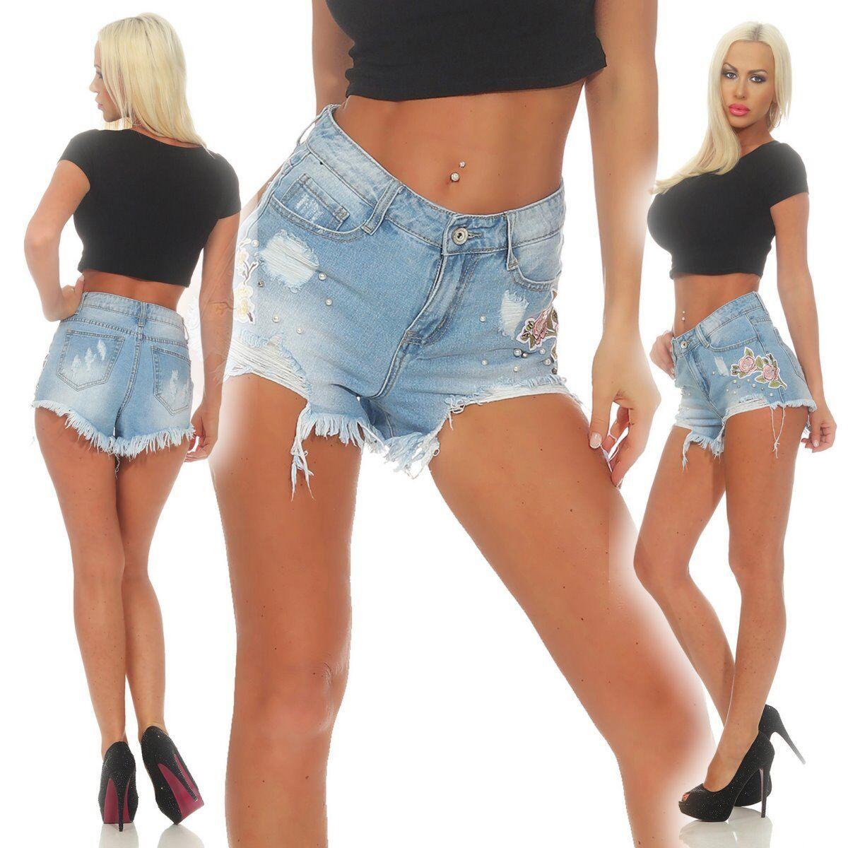5637 Damen Jeans Hotpants Denim Shorts kurze Hose Hot Pants Rosen Fransen Perlen