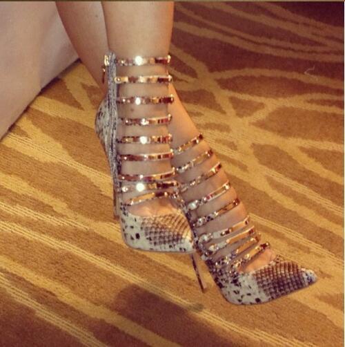Vogue Femmes Peau De Serpent Bout Pointu Chaussures Talons Hauts Gladitor Sandales Bottines