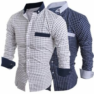 Men-039-s-Casual-Check-Shirts-Slim-Fit-Business-Formal-Dress-Shirt-Lapel-Tops-Blouse