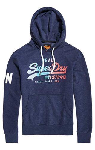 Large Superdry Men/'s Vintage 1st Hood Jumper Pullover Sweatshirt Blue Size
