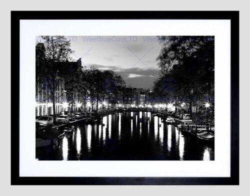 AMSTERDAM CHANNELS NIGHT LIGHTS BLACK WHITE BLACK FRAMED ART PRINT B12X8845